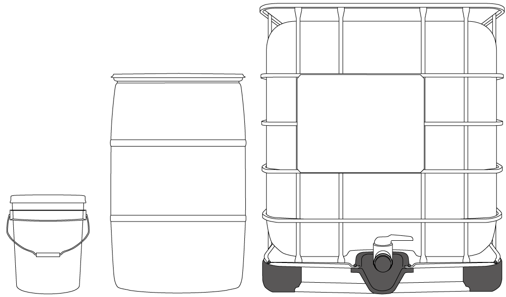 Illustration of packaging options for the commercial sector.