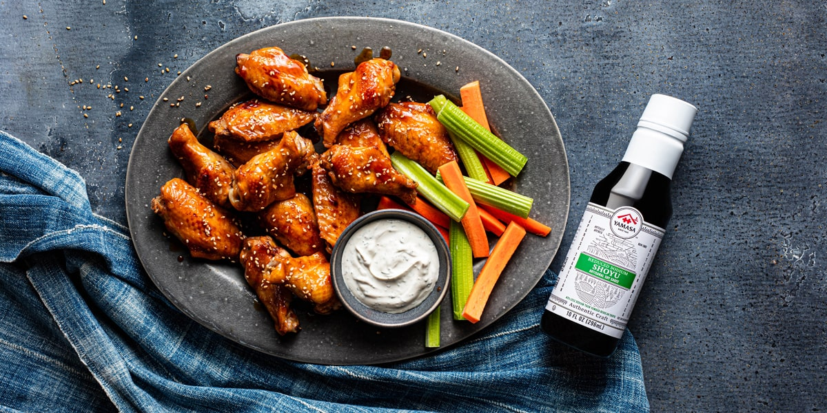 Image of Teriyaki Chicken Party Wings on a plate.