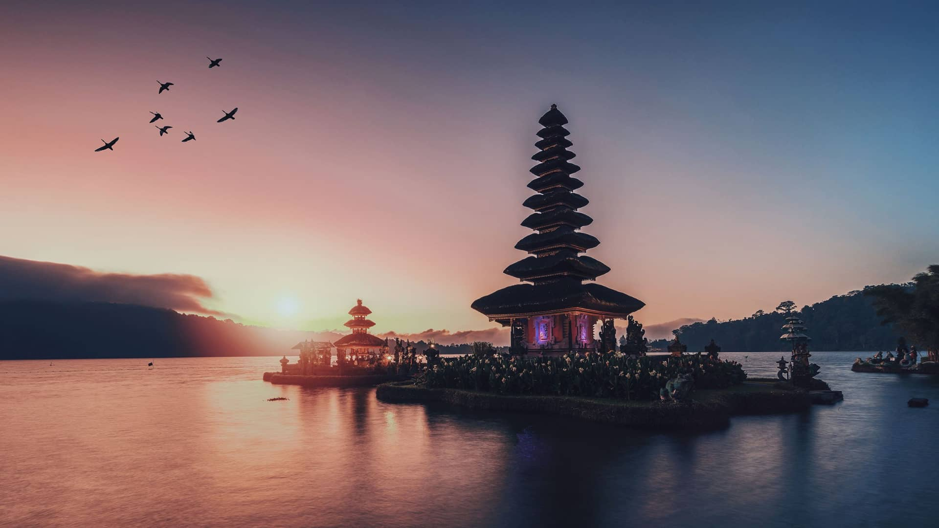 Bali Indonesia temple during sunset
