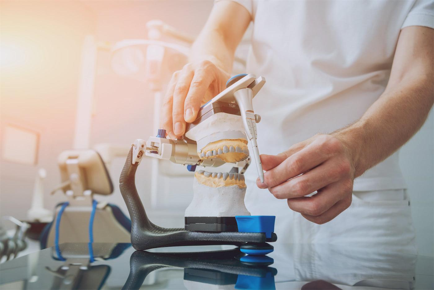 dental technician working in a lab