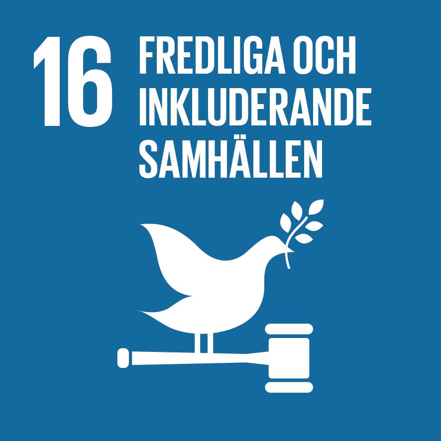 Ikon för globala målen nummer 16, Fredliga och inkluderande samhällen
