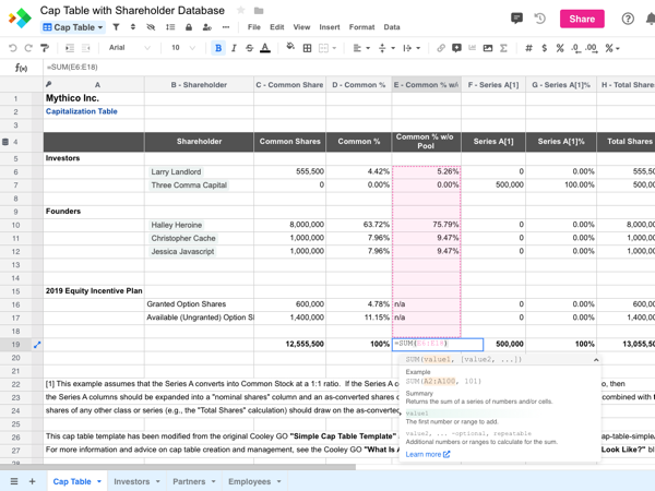 Cap Table with Shareholder Database