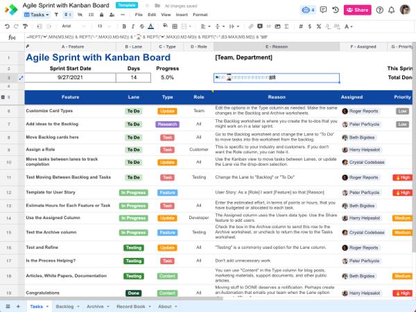 Agile Sprint with Kanban Board