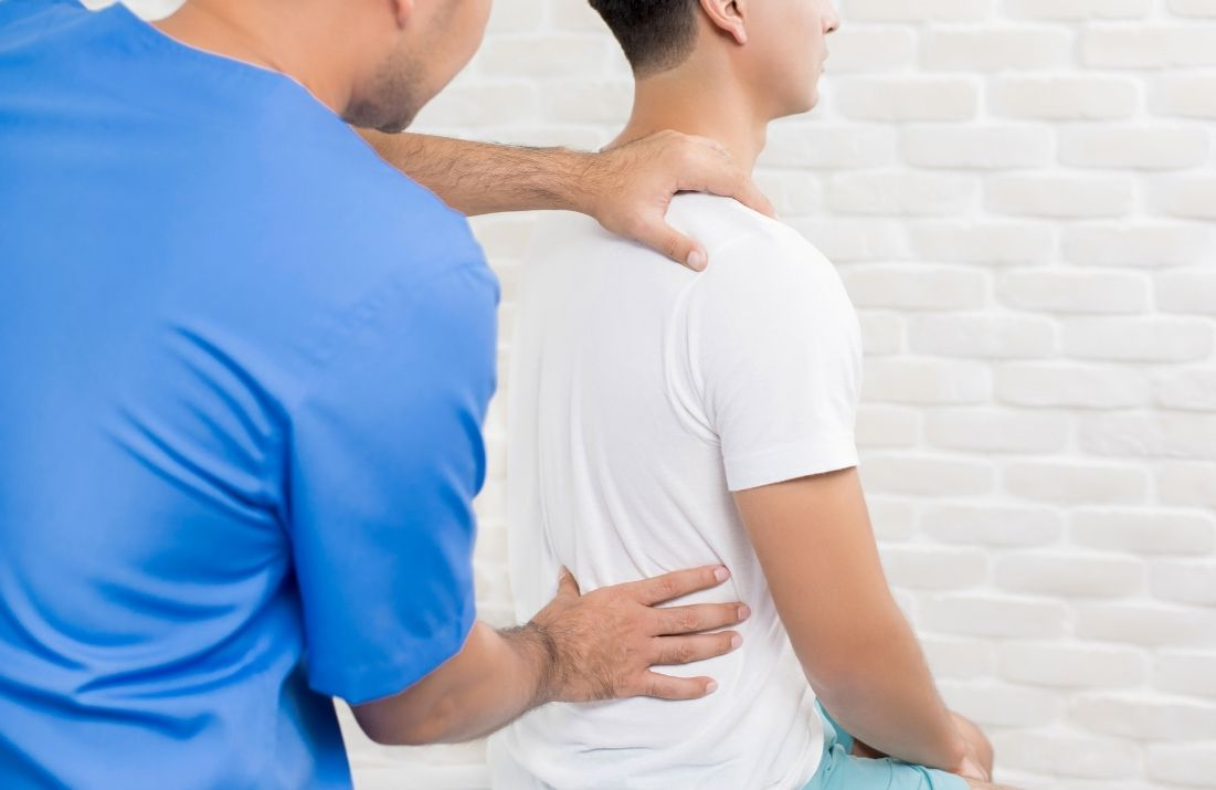Checking a patients back