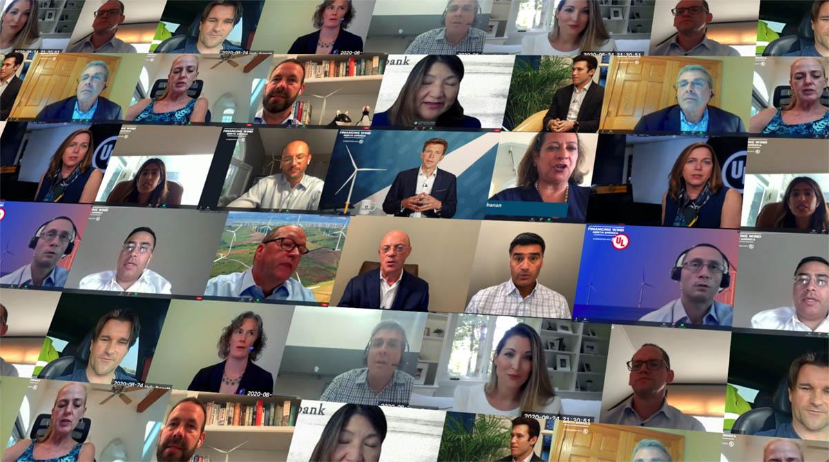 Grid of virtual speakers at Financing Wind.
