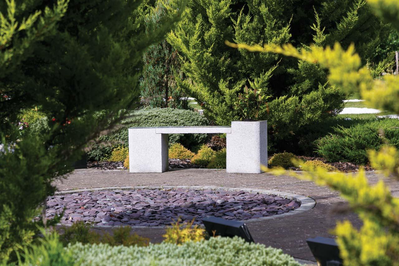 lunar granite memorial bench