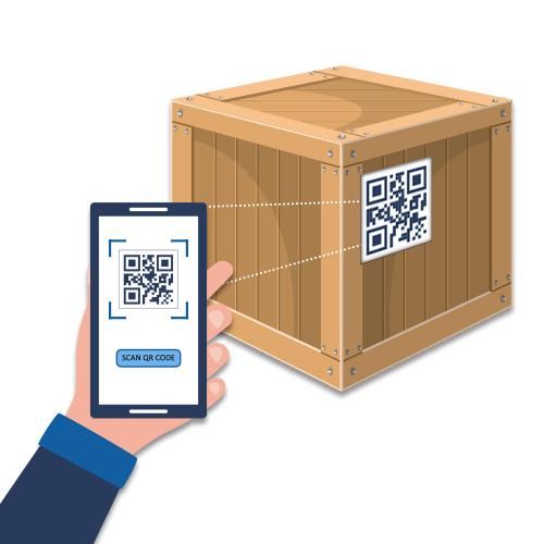 Beispielkiste mit QR Code und Handy, um zu symbolisieren, dass man für die Kisten abstimmen kann.