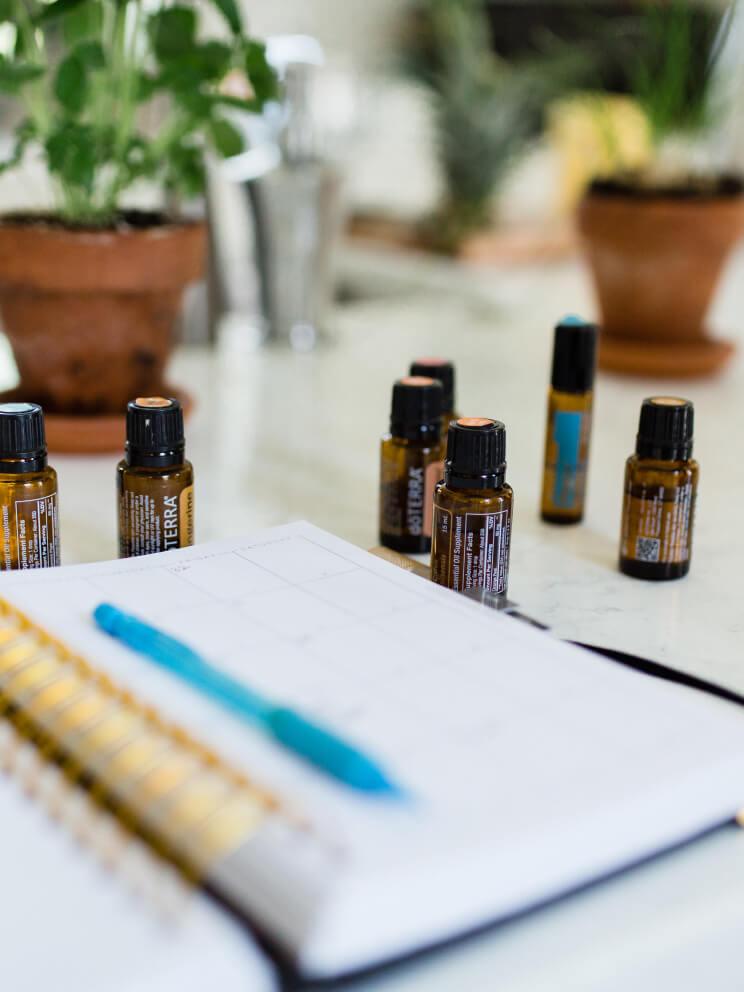 Essential oils on work desk