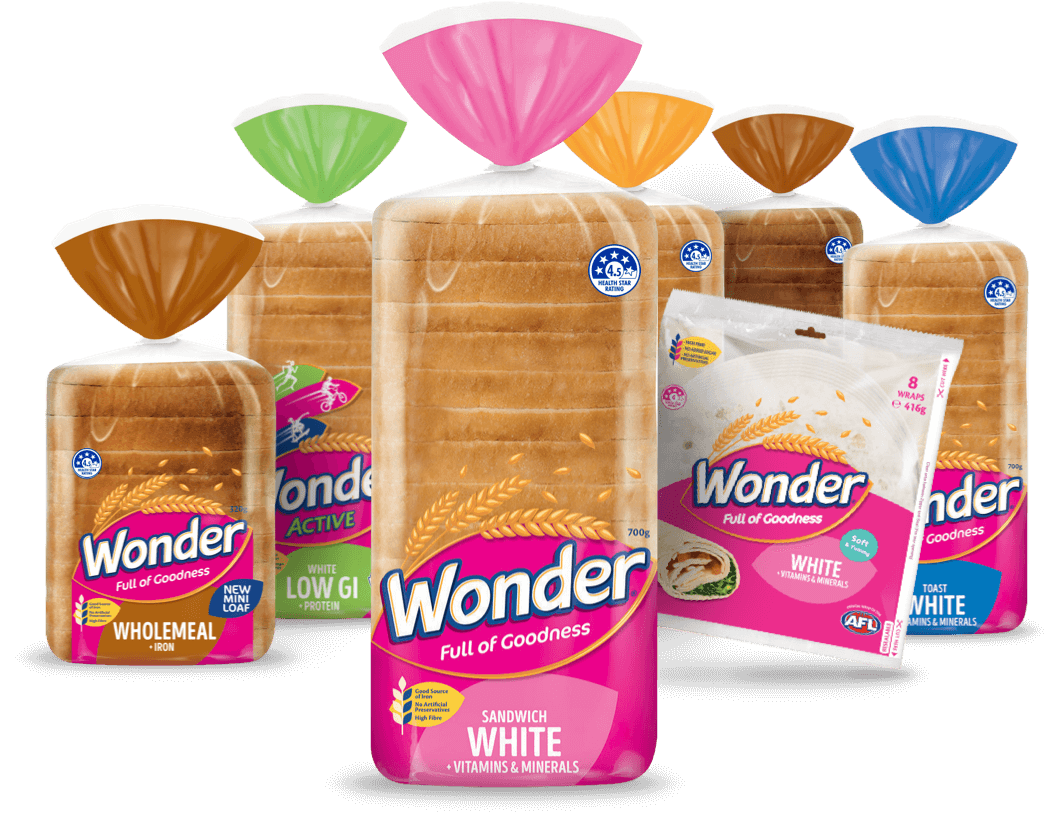 An assortment of the the Wonder range of products including Sandwich White, Mini Loaves and Wraps.
