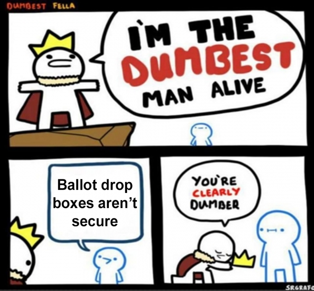 you do realize that a ballot being dropped in a box doesnt just... automatically get submitted without checking right_