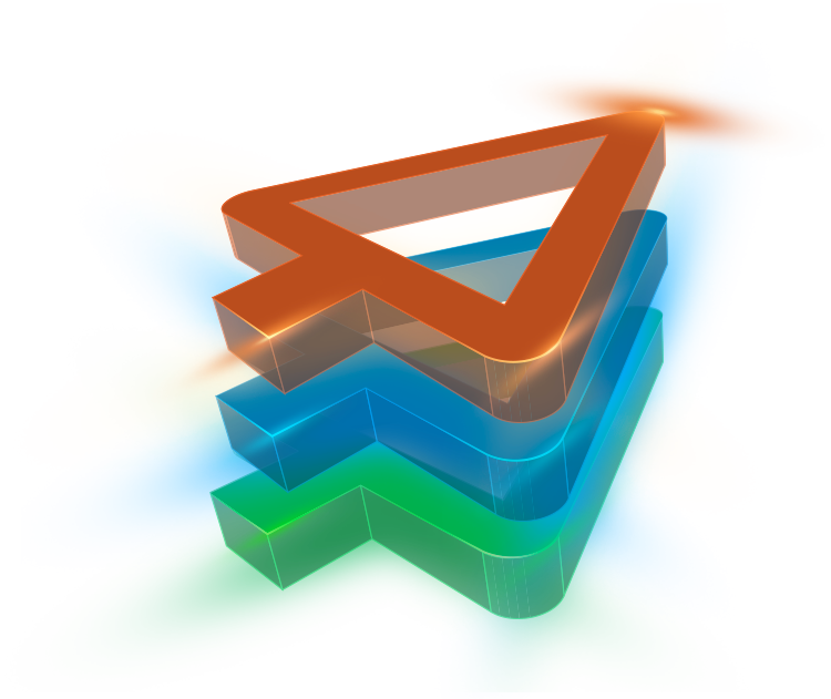 three stacked arrows with 3d effect - decoration