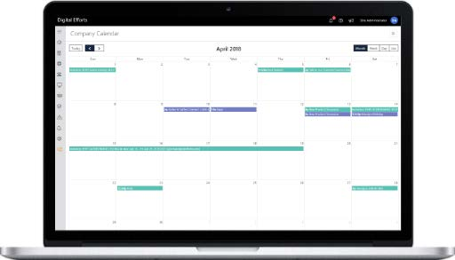 open laptop with a synced employee and company calendar open - decoration