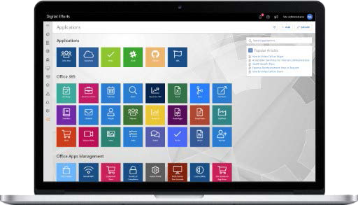 open laptop with a cloud apps office 365 dashboard open - decoration