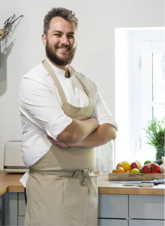 a chef smiling