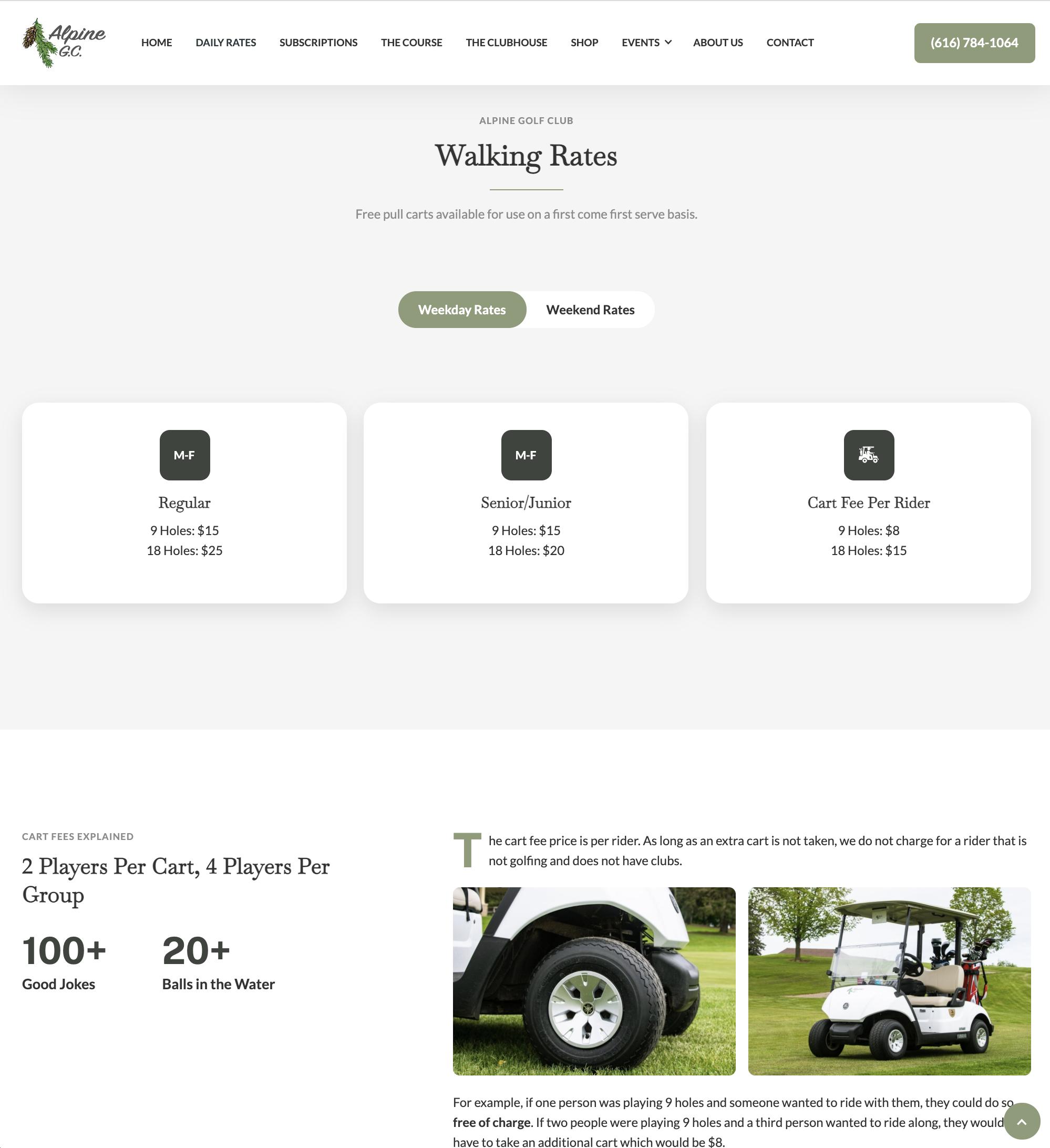 Alpine Golf Club Website Design