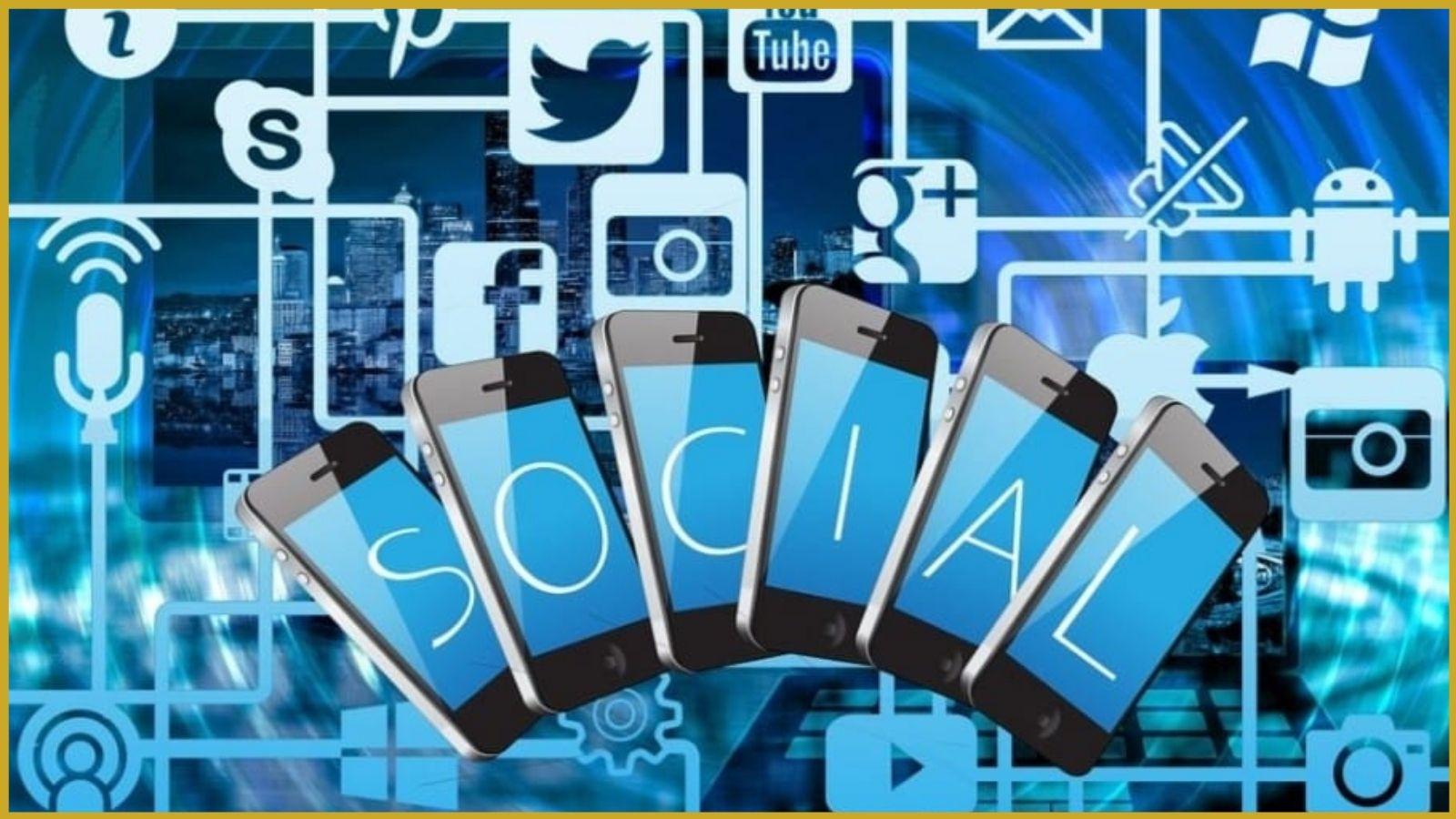 Verschiedene Social Media Elemente auf einer Grafik, passend zum Kontext.