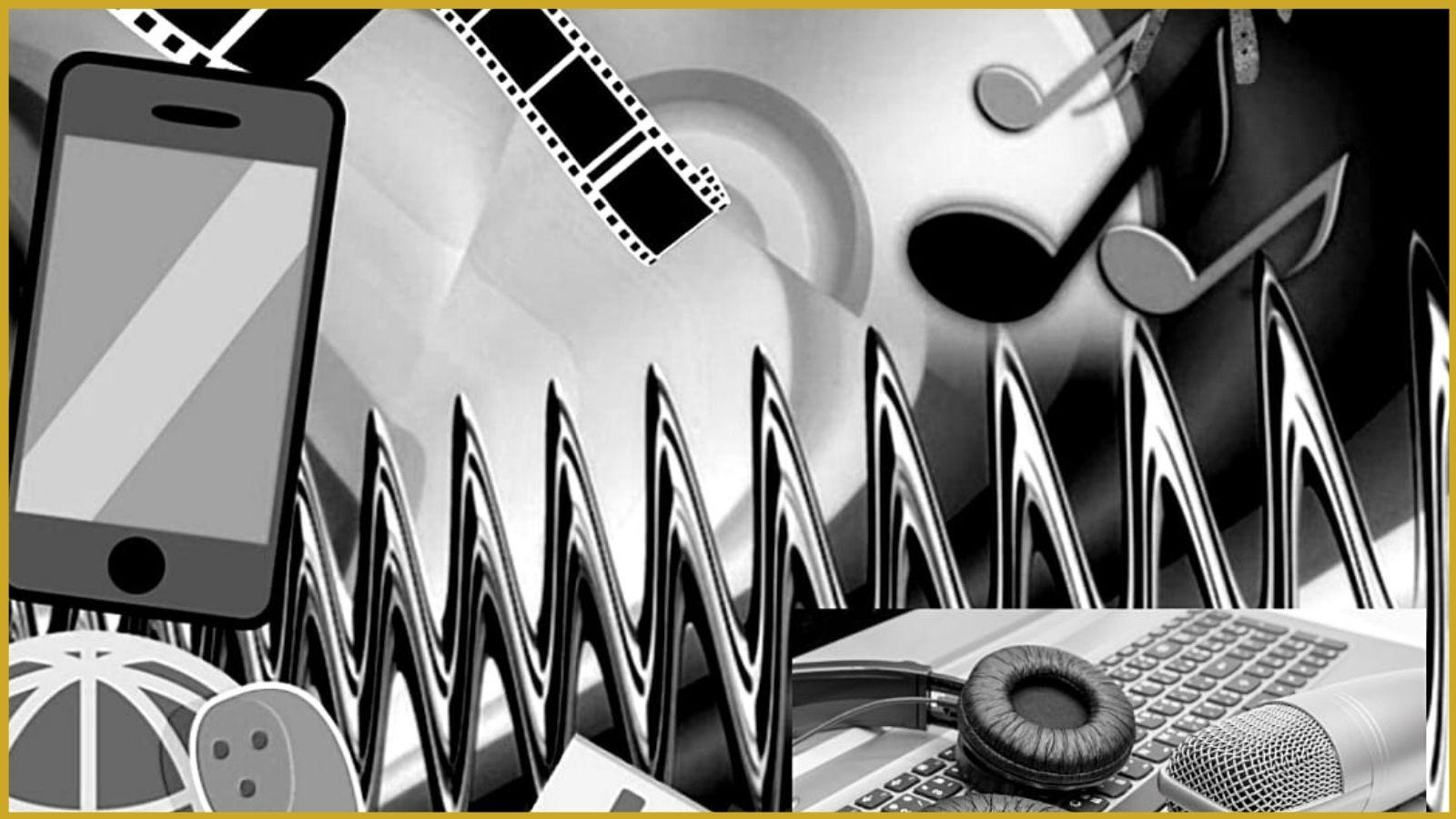 Verschiedene Audio- und Video-Elemente auf einem Bild, passend zum Kontext.
