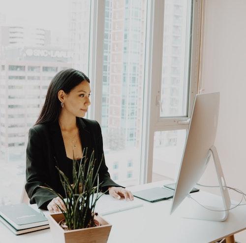 Venture Capitalist - Lady sat at computer