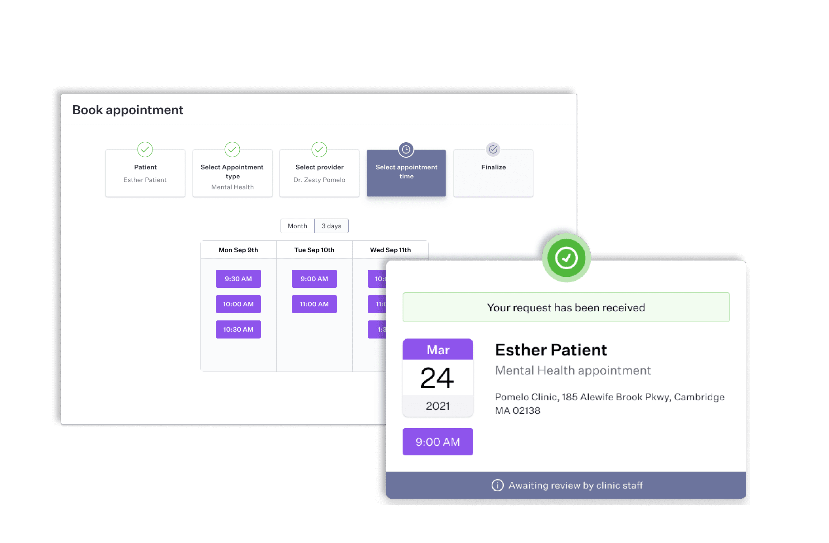 Online Booking Software - Patient Confirmation Email