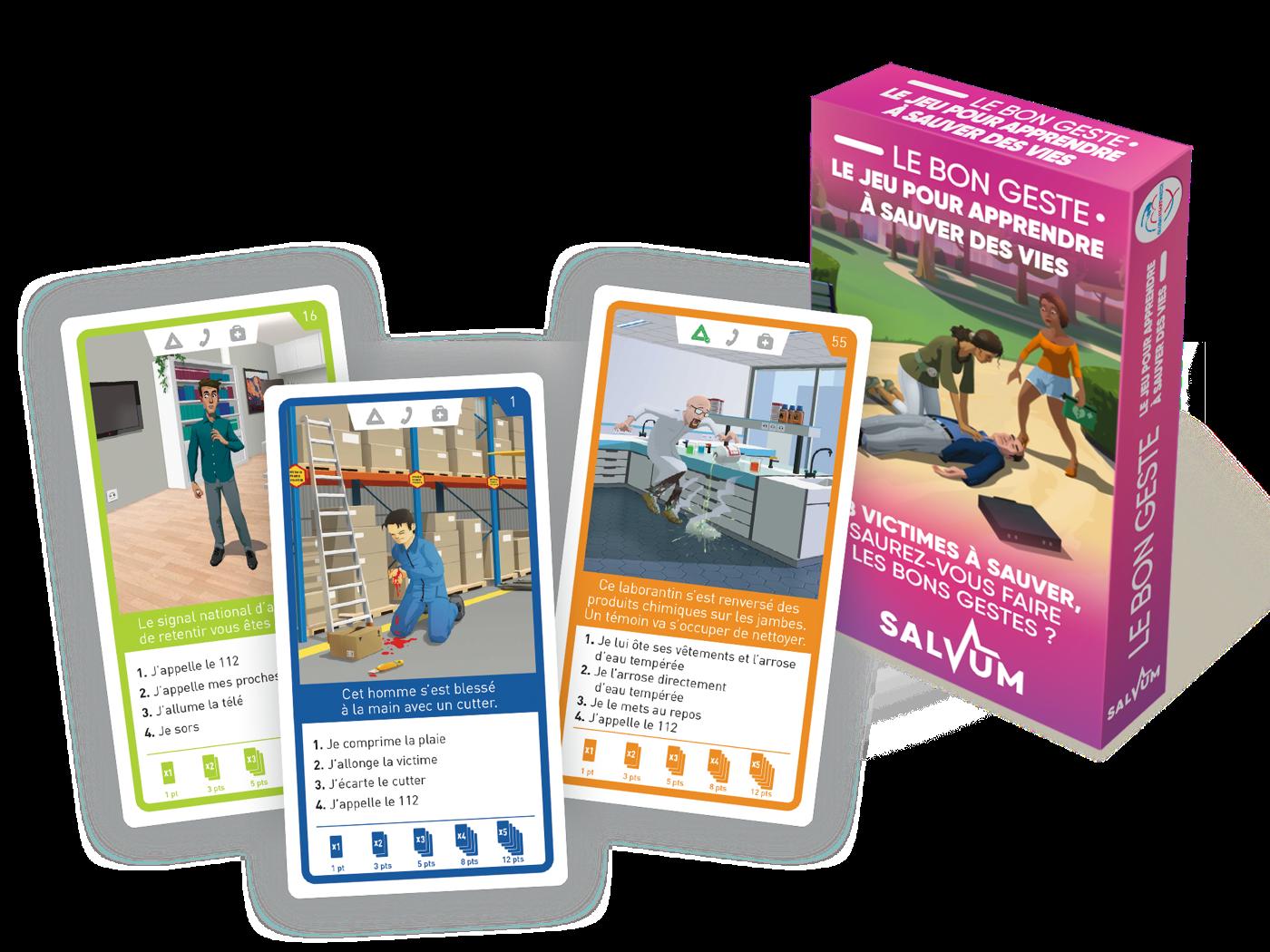 Des produits ludo-educatifs autour du secourisme : jeux de cartes, mémo, mallettes pédagogiques etc.
