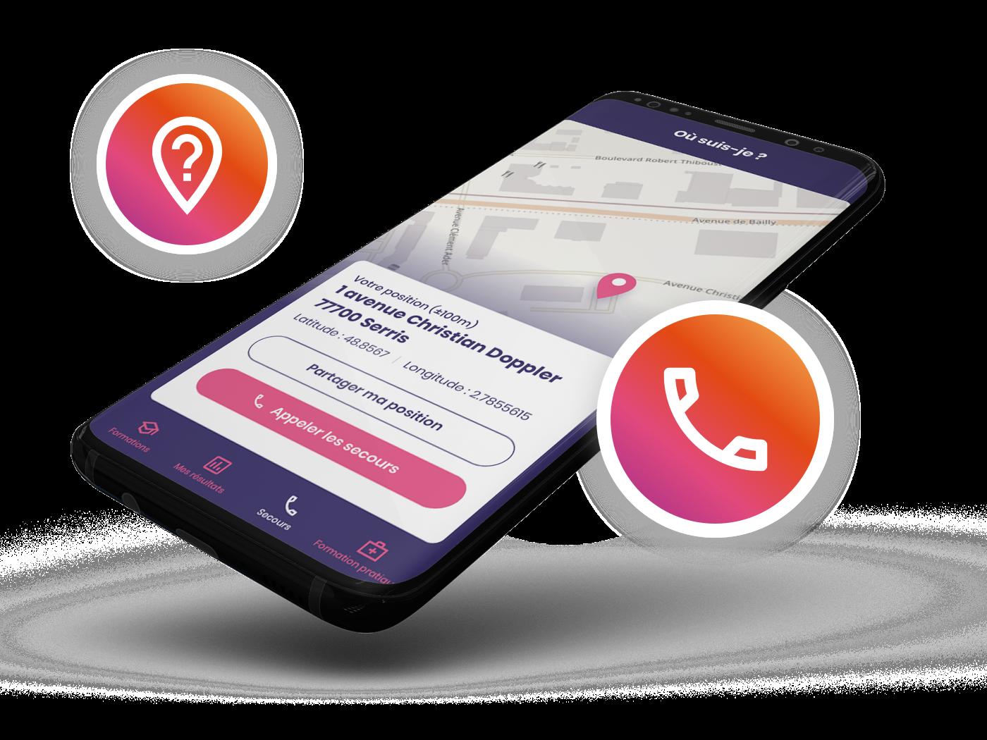 Une application permettant de géolocaliser les victimes et d'appeler les secours en un clic