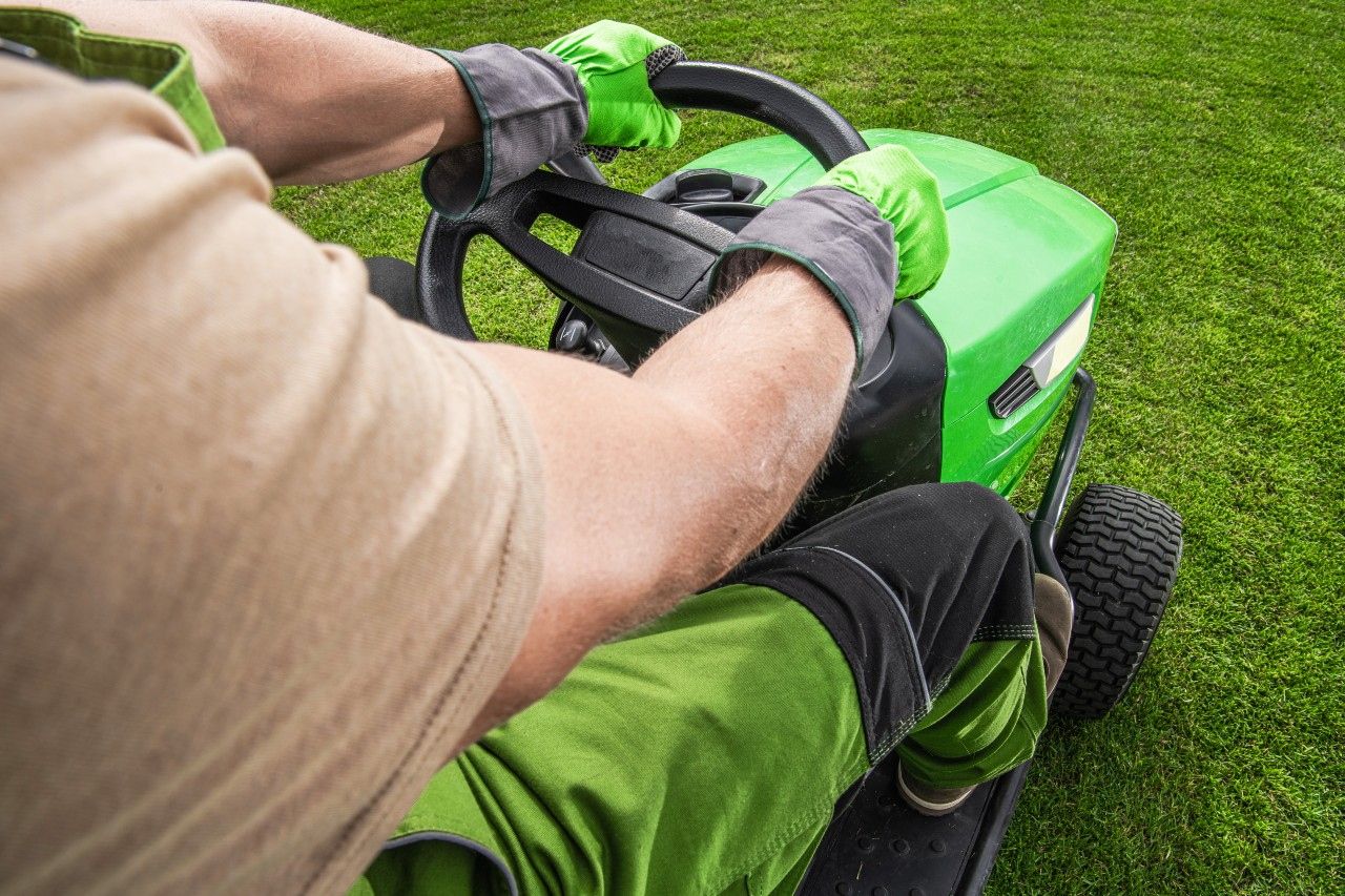 Professional lawn mow tractor cutting grass