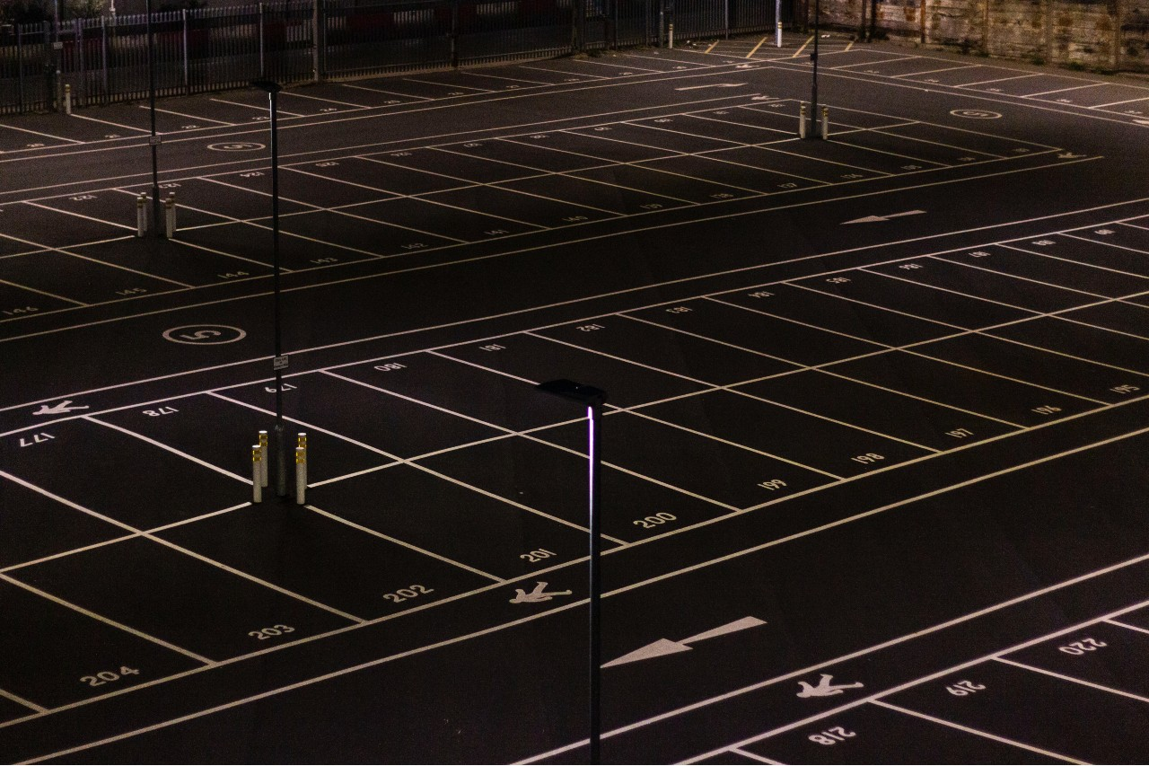 Parking lot line painting in commercial building