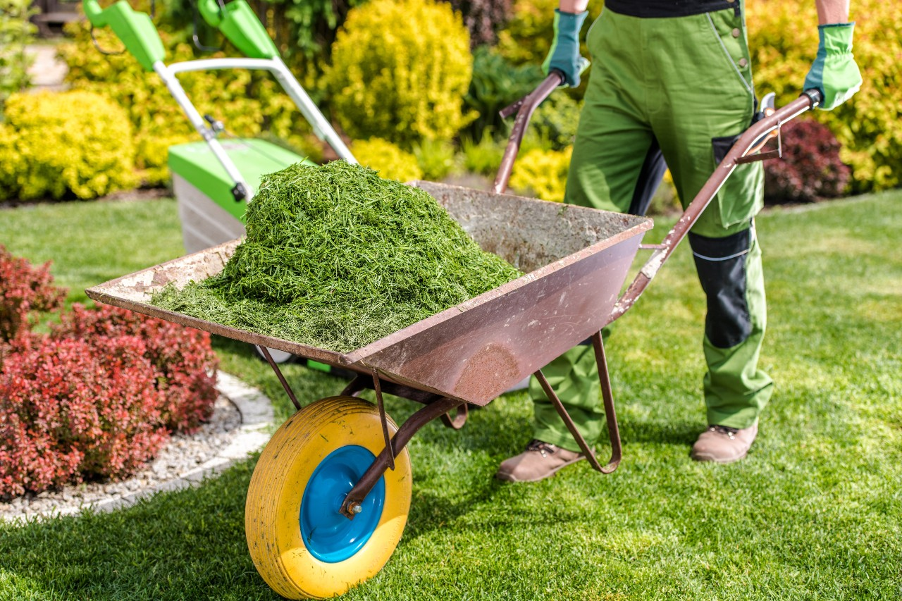 Cleaning up grass clippings from service site