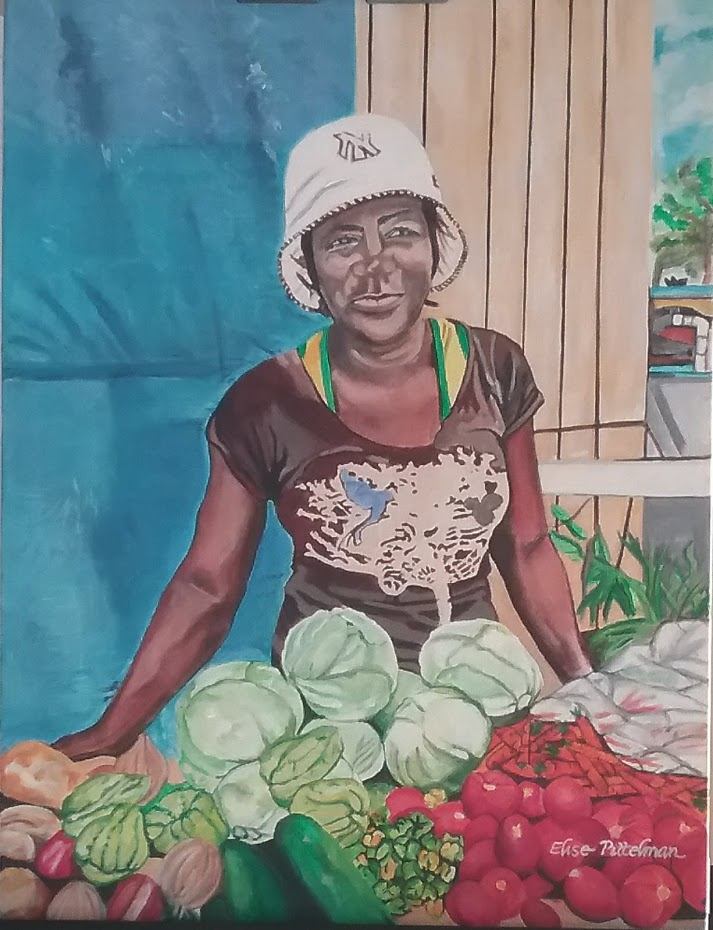 Market Woman with Blue Tarp 14x16