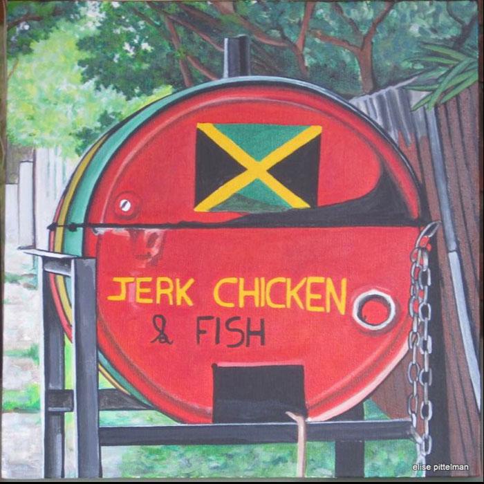 "Jerk Chicken & Fish • 16"" x 16"""