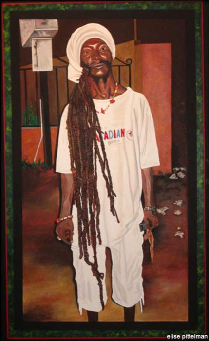 """Rasta with Cell Phone and Chicken • 48"""" x 30"""""""