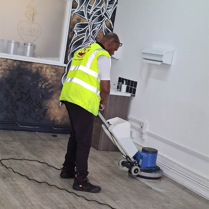 Hard floor cleaning in progress by ACR Cleaning
