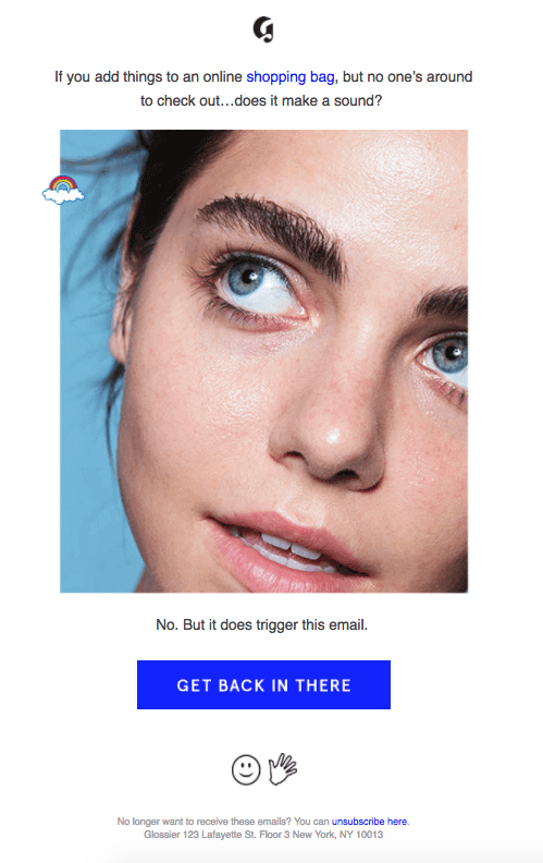 Example of Glossier email nurturing