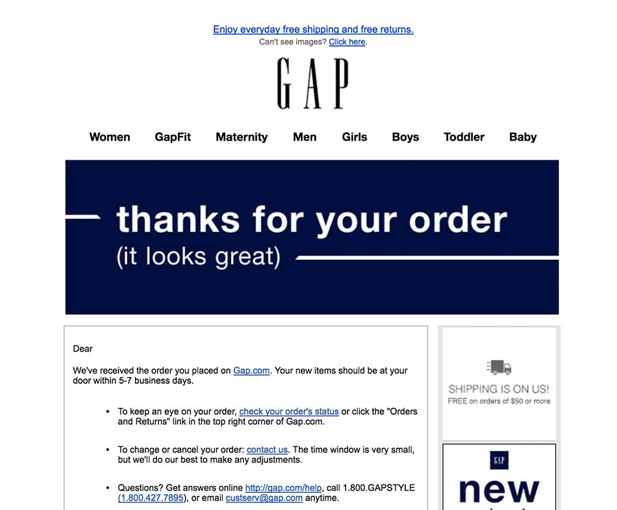 Order confirmation email example