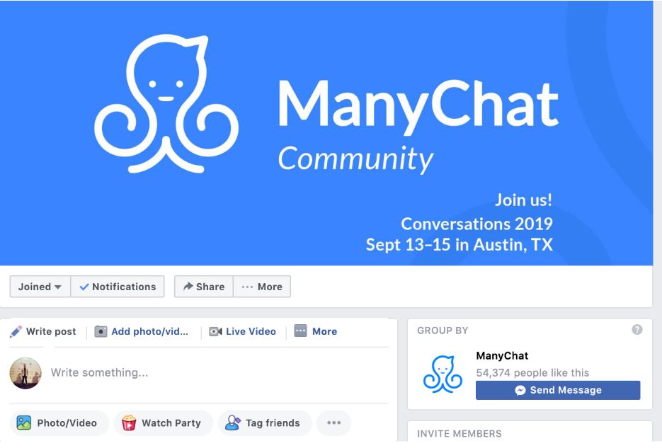 SaaS Company ManyChat Facebook Community