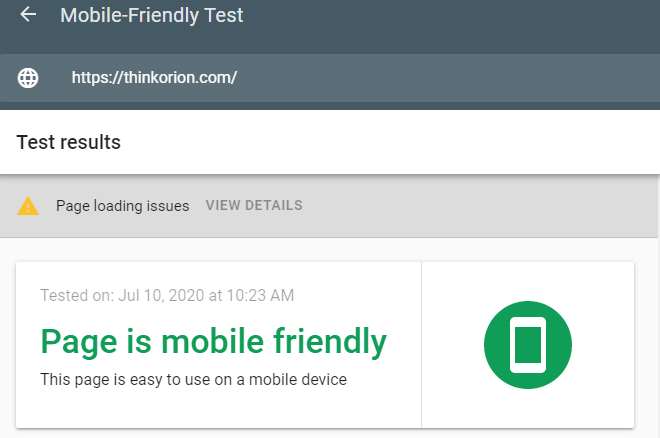 Orion Mobile Friendly Test