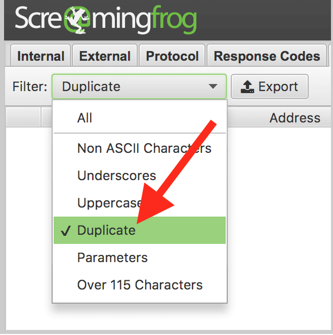 Screaming Frog Duplicate Content Checker