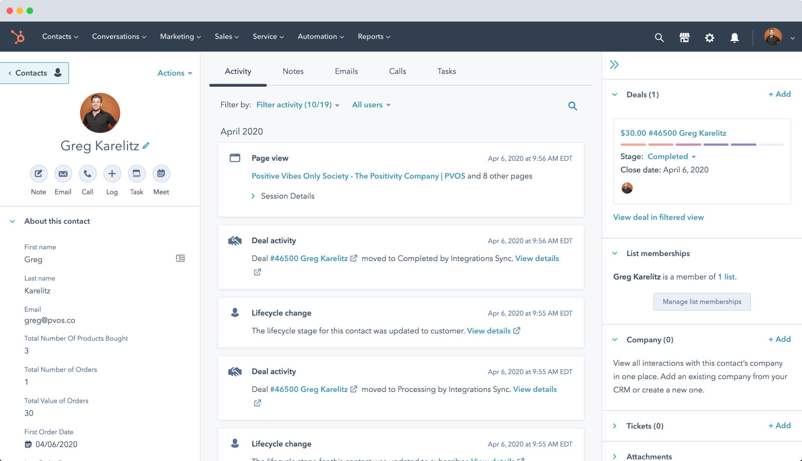 HubSpot - All in One eCommerce Automation CRM Example