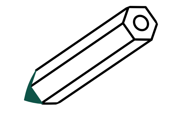 A pen with dark green tip
