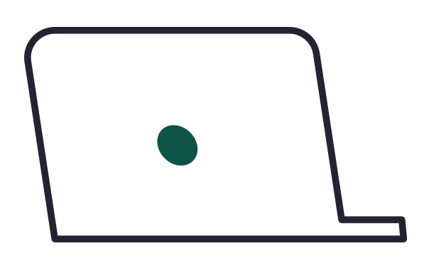 Computer with green circle