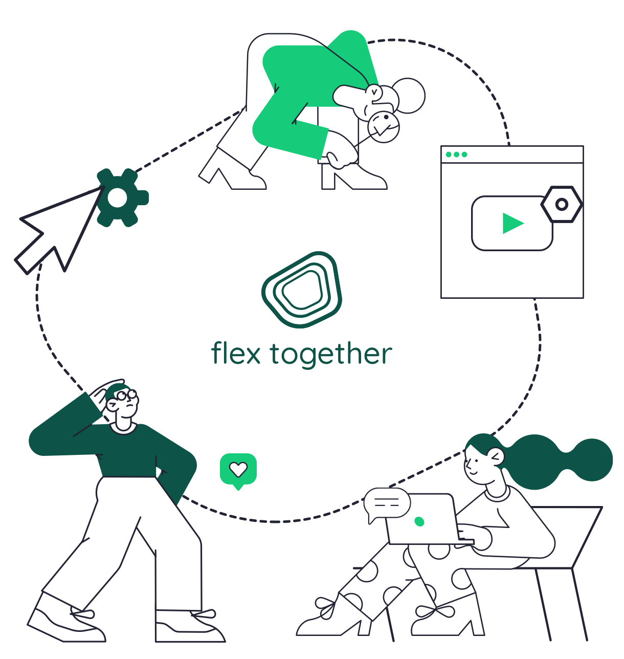 Illustration showing multiple people engaging in digital activities
