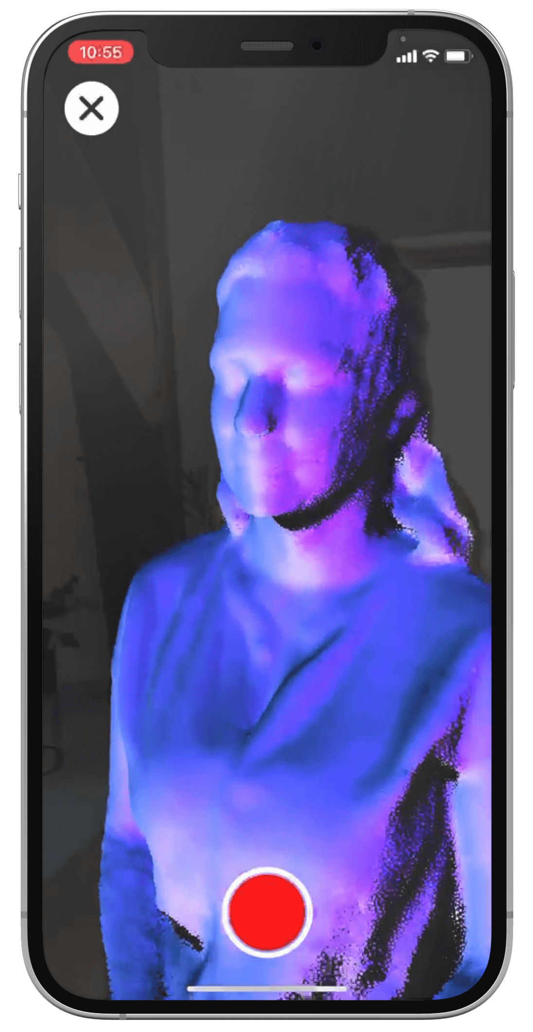 The r3DScan App on an iPhone 12 Pro showing the scan screen.