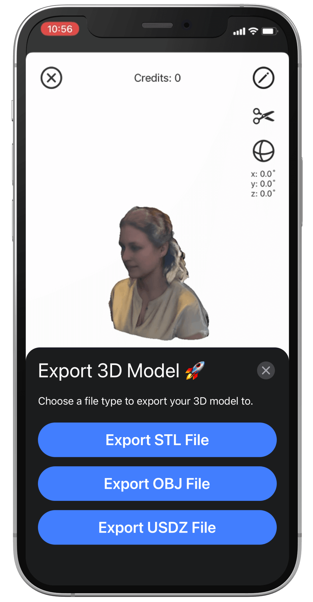 The r3DScan App on an iPhone 12 Pro showing the export screen.