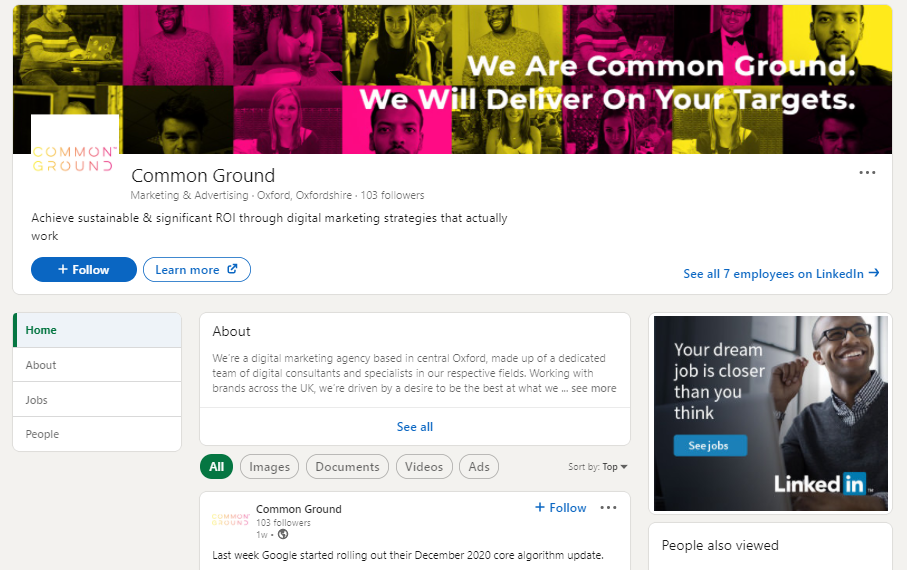 Common Ground digital marketing agency LinkedIn Company page