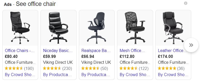 Google Shopping search results for office chair