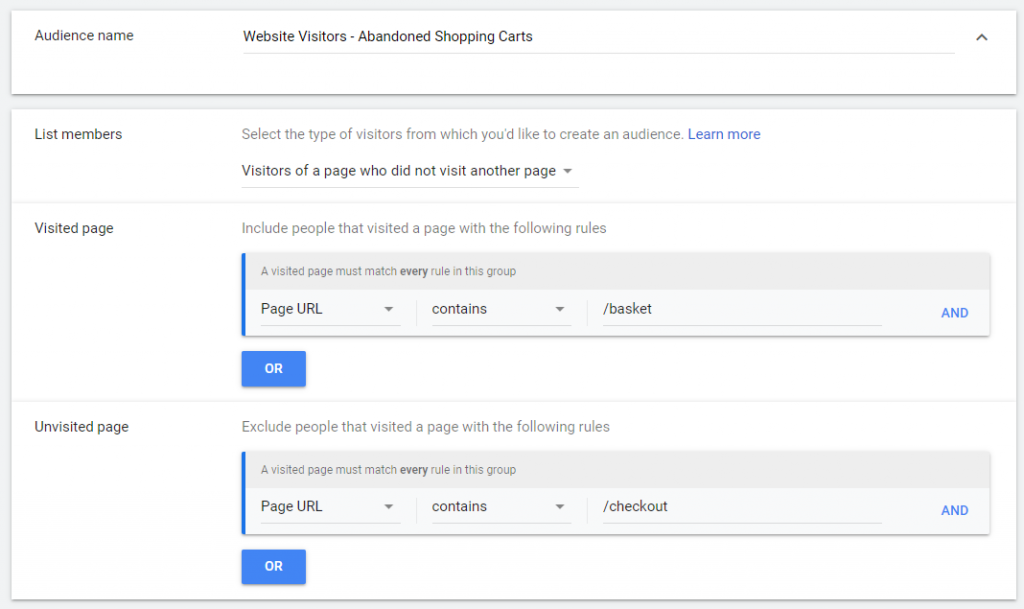 google shopping - remarketing list for search ads - abandoned cart audience