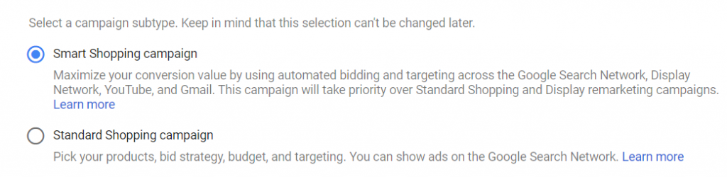 Google Ads - Shopping campaigns - Smart Shopping