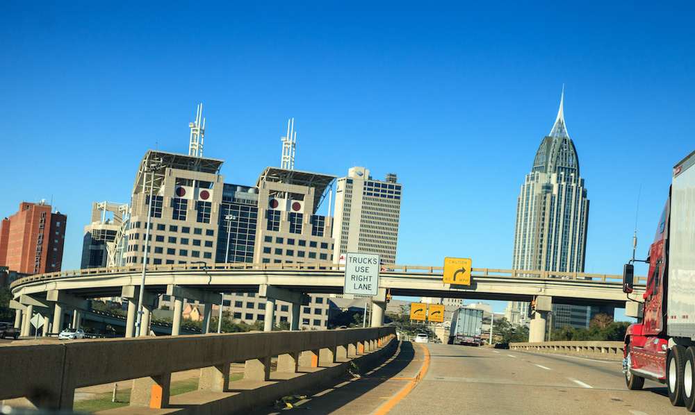 Interstate 10 through downtown Mobile Alabama into the Wallace Tunnel
