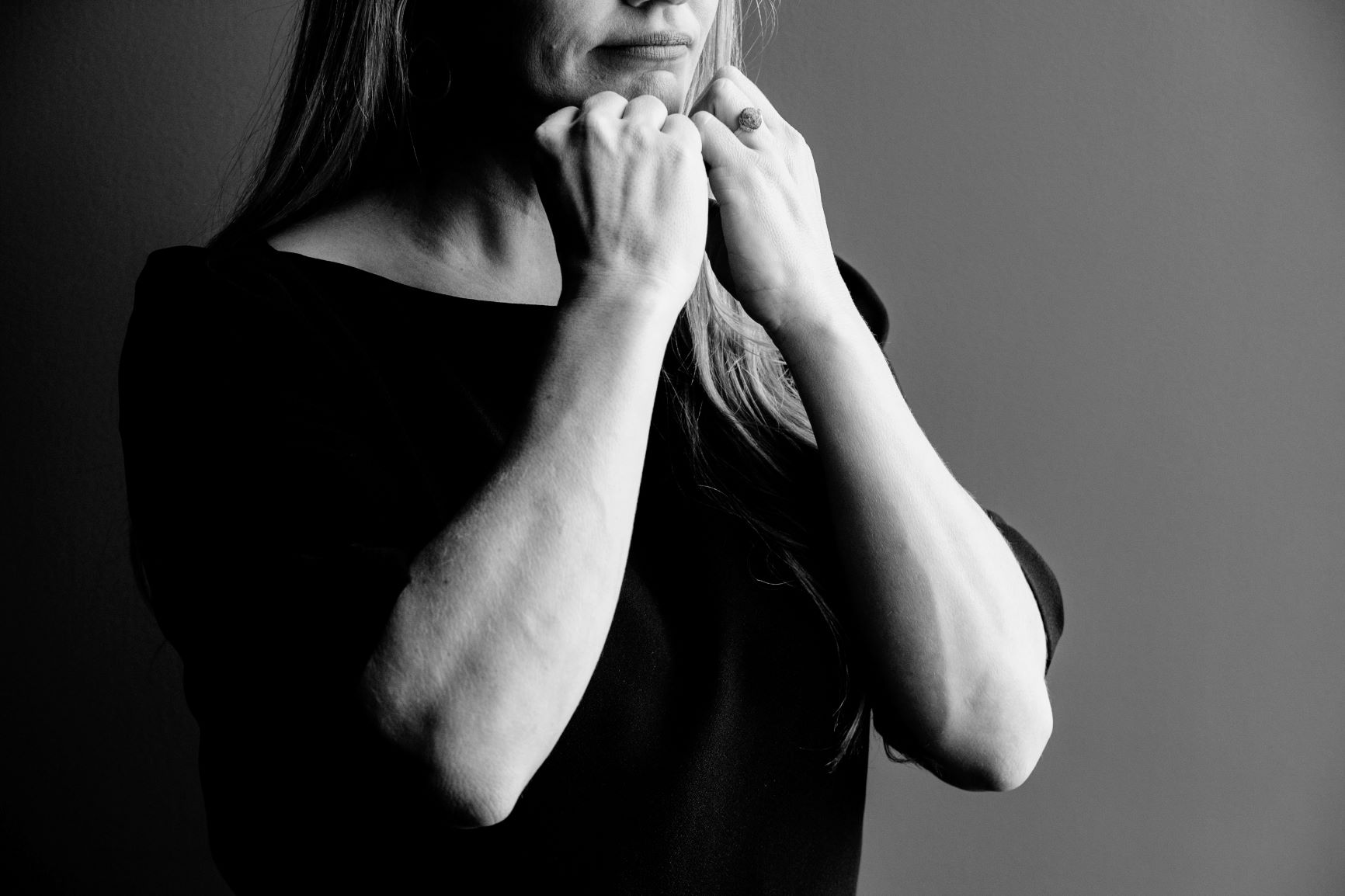 Woman Interpreting with Sign Language