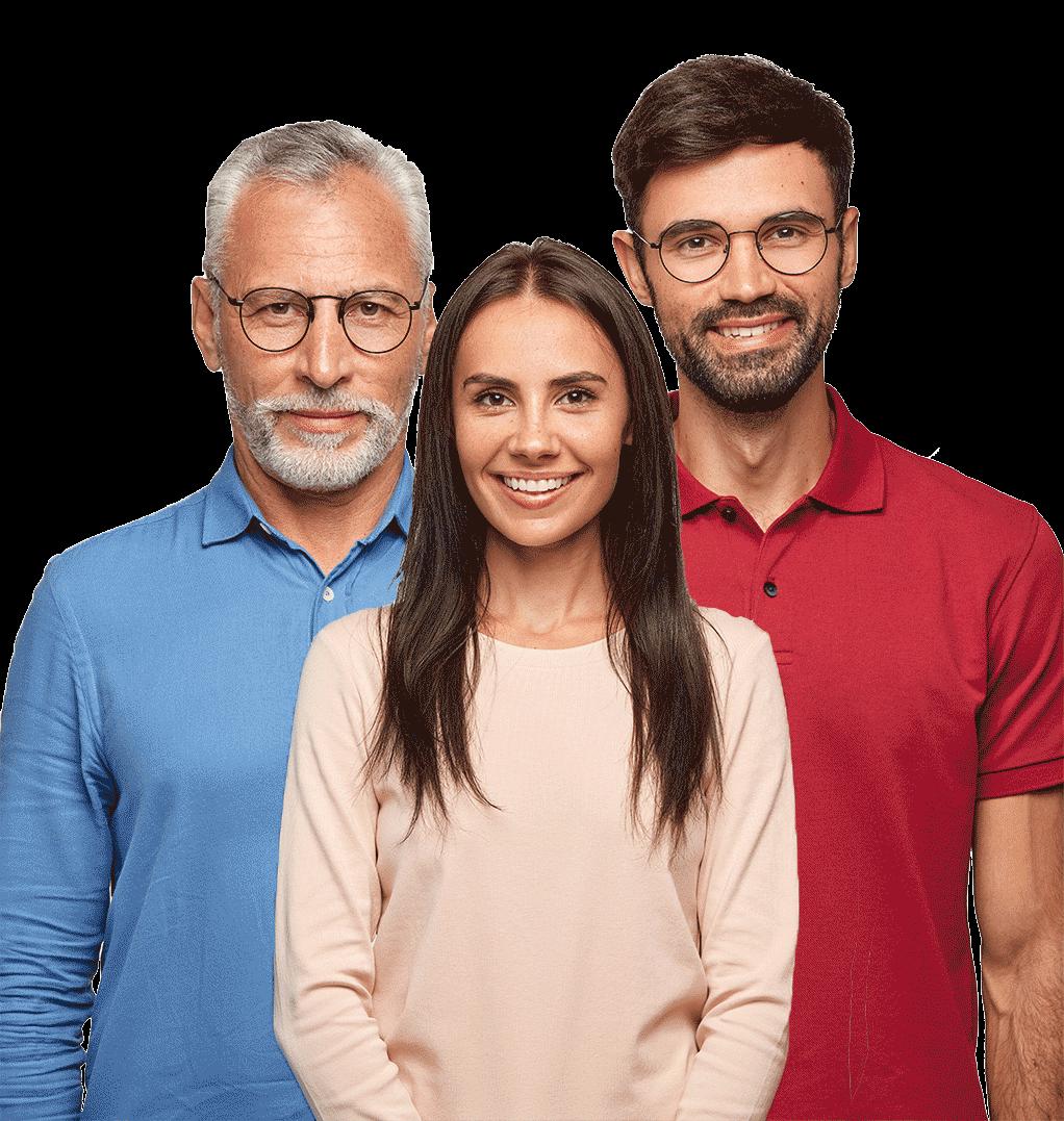 Trois personnes représentant 3 catégories d'âge